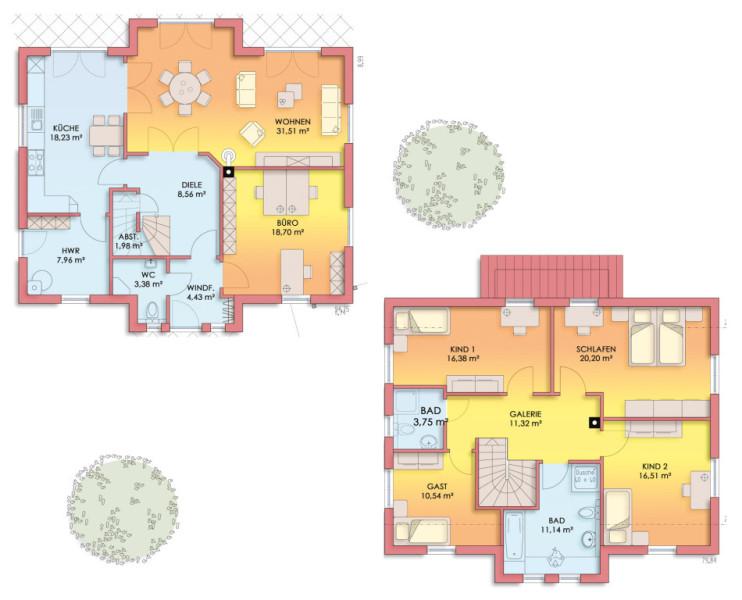 Grundriss haus modern mit erker  Lange und Lossau - Design No. 1
